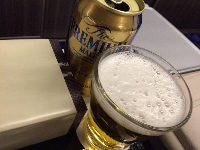 東北新幹線グランクラスのビール(プレミアムモルツ)