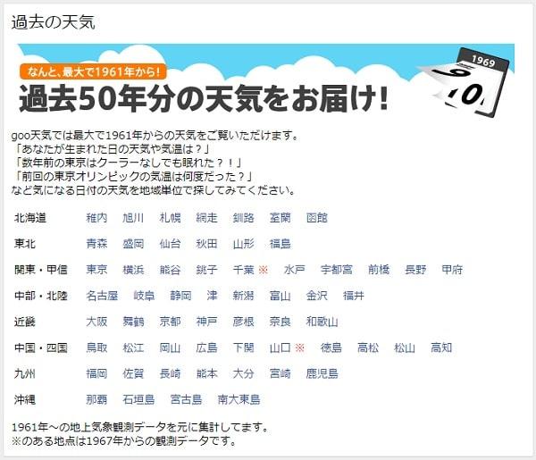 goo天気 - 地域別