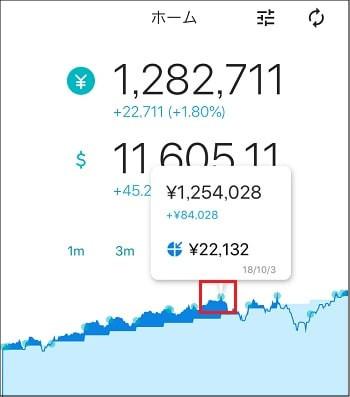 ウェルスナビアプリ - 損益グラフの見方(利益)