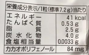 神戸ローストショコラ栄養成分表示、カロリー